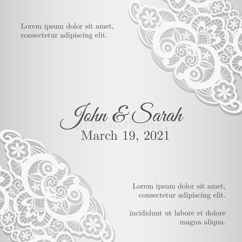 Vintage Silver Wedding Invitation Cover With Lace Stock Vector ...