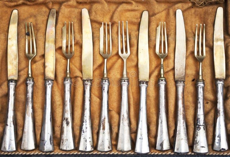 Vintage silverware. Set of a vintage silverware stock image