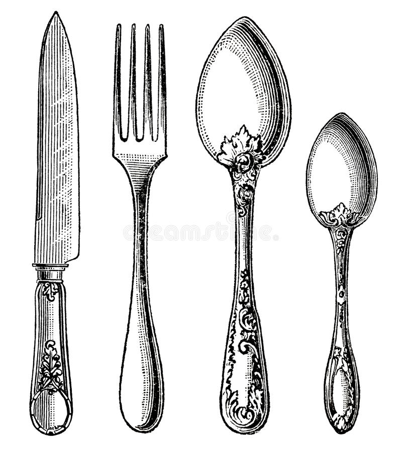 Vintage silverware. Knife, Fork and Spoon. Engraving on white background stock photos