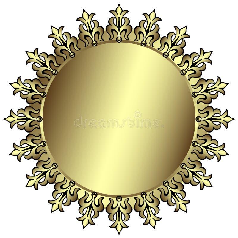 Vintage silvery round frame vector illustration