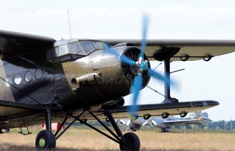 Vintage single engine biplane aircraft. Outdoor stock photos