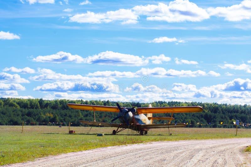 Vintage single-engine biplane aircraft. Ready to take off royalty free stock image