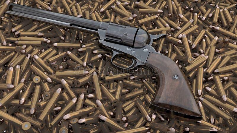 Download Vintage Revolver Background. 3D Render Stock Illustration - Illustration of cylinder, black: 104989736