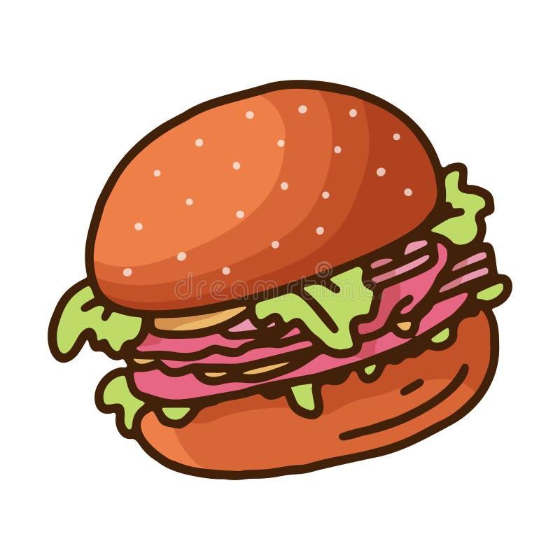 Vintage sketch illustration with doodle burger on white background. Vector. Tasty fast food. Hand drawing royalty free illustration