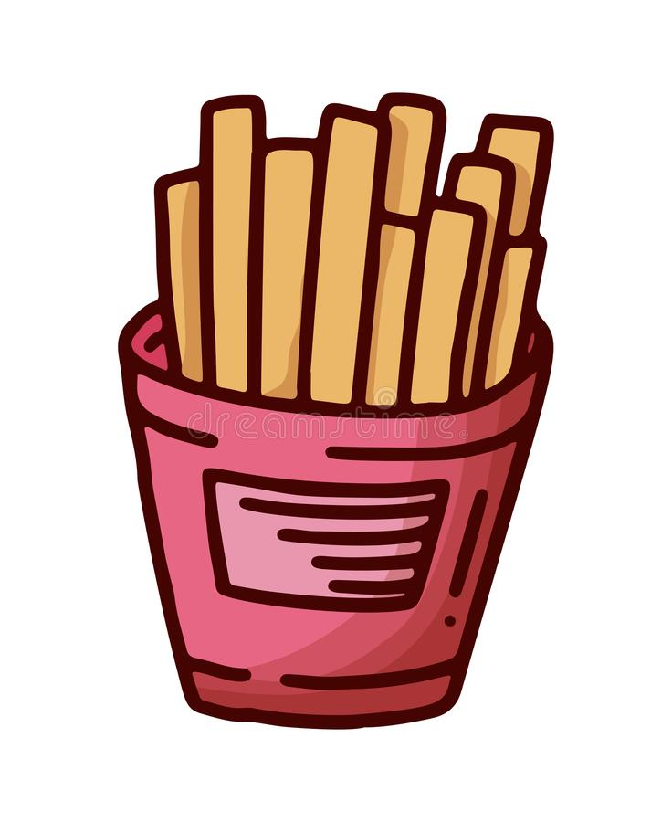 Vintage sketch illustration with doodle French fries on white background. Vector. Tasty fast food. Hand drawing stock illustration