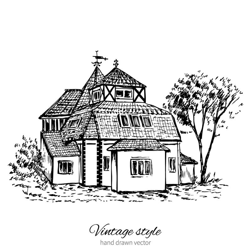 Vintage sketch tile old european house, mansion, Historical building sketchy line art isolated, touristic postcard, poster, royalty free illustration