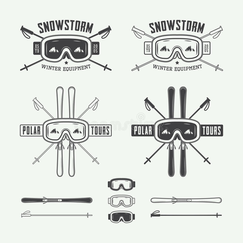 Vintage ski and arctic expeditions logos, badges, emblems stock illustration