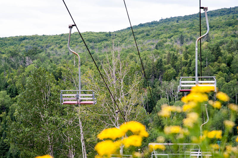 Vintage Ski Lift in Summer stock photography