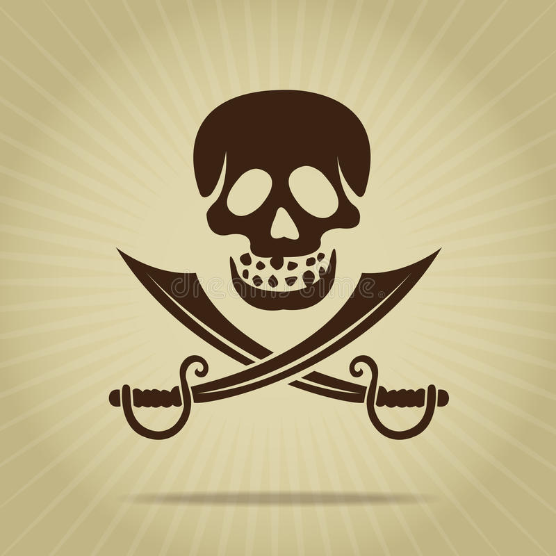 Vintage Skull with Crossed Swords Silhouette vector illustration