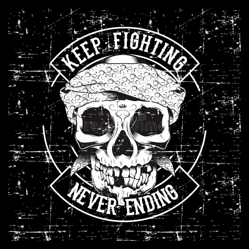 Vintage skull and fists slogan with motivation. Vector illustration vector illustration