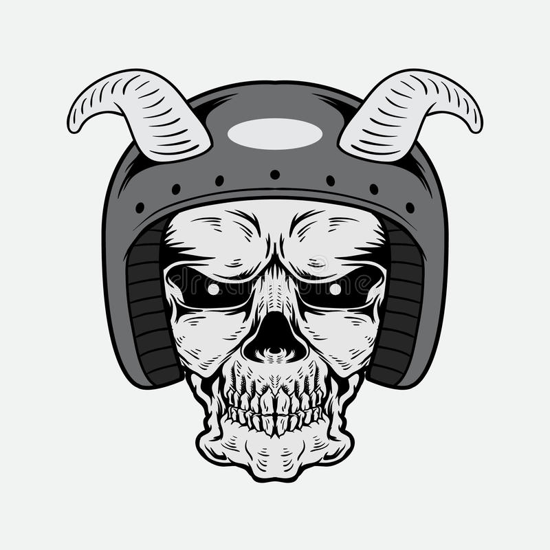 Vintage Skull Vector Design With Helmet stock image