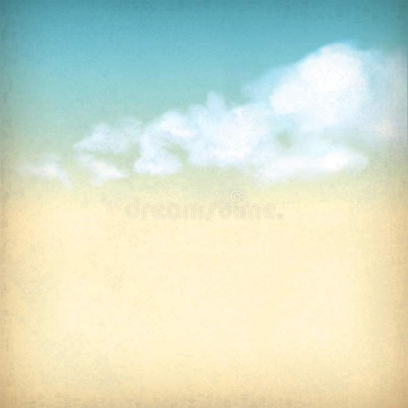 Vintage sky clouds old paper textured background vector illustration