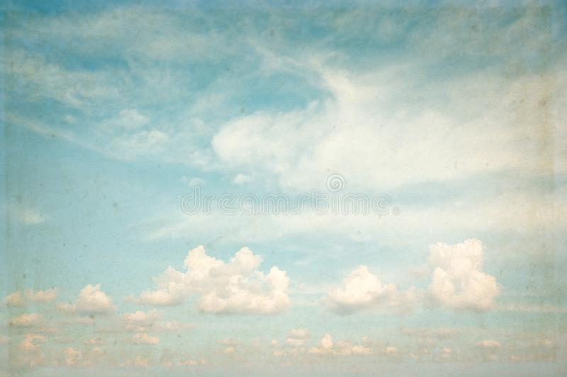 Vintage sky with cumulus clouds stock photography