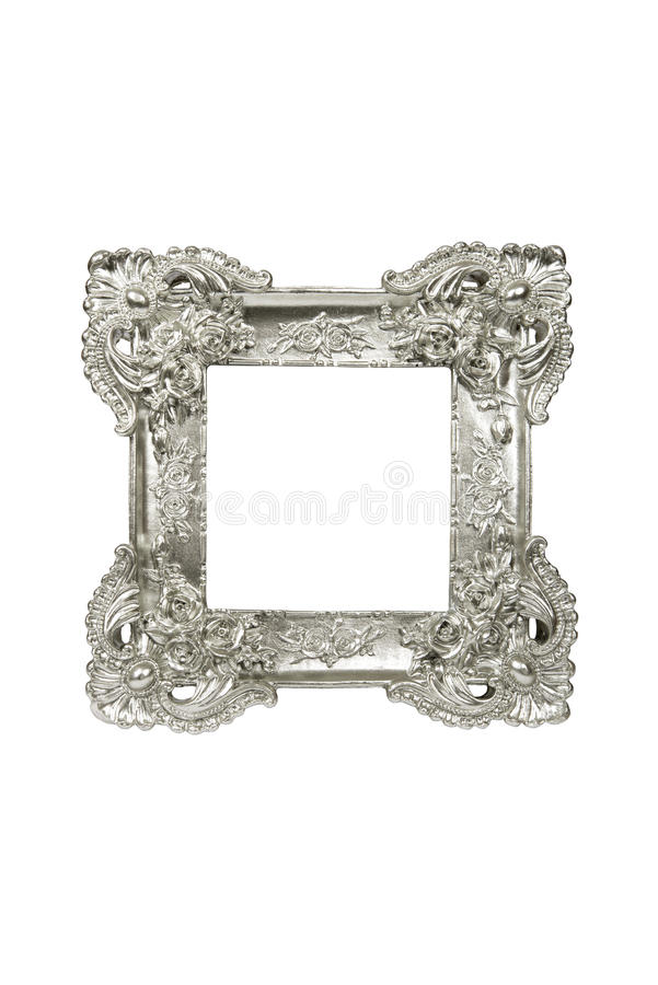 Vintage sliver picture frame. Isolated on white with clipping path royalty free stock photo