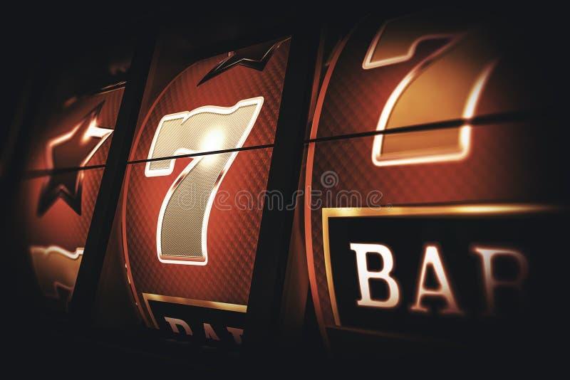 Vintage Slot Machine Game. Classic Slots Closeup 3D Rendered Illustration stock illustration