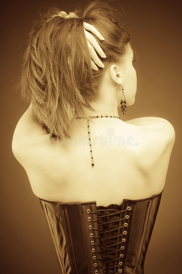 Download Vintage Slyle Lady In Corset Stock Photo - Image: 12477664