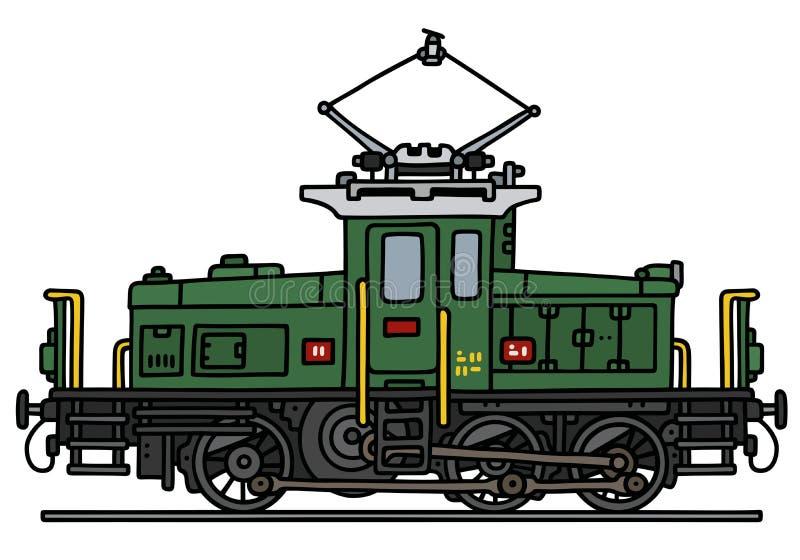 Vintage small electric locomotive vector illustration