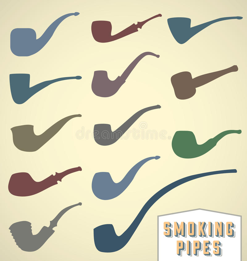 Vintage Smoking Pipes Collection royalty free illustration