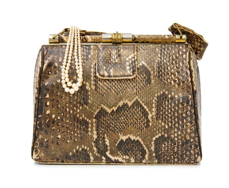 Vintage snakeskin bag stock images