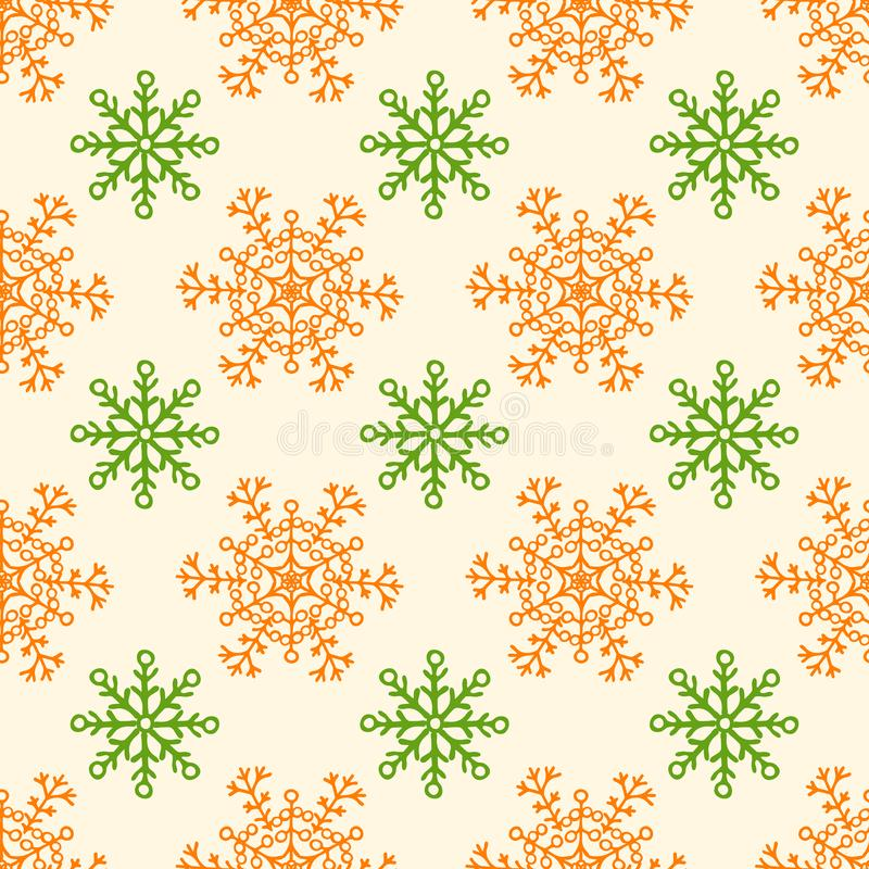 Snow flakes floral seamless background pattern - Vintage fabric collections stock illustration
