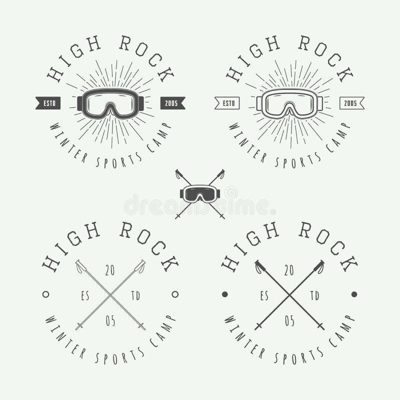 Vintage snowboarding or winter sports logos, badges, emblems royalty free illustration