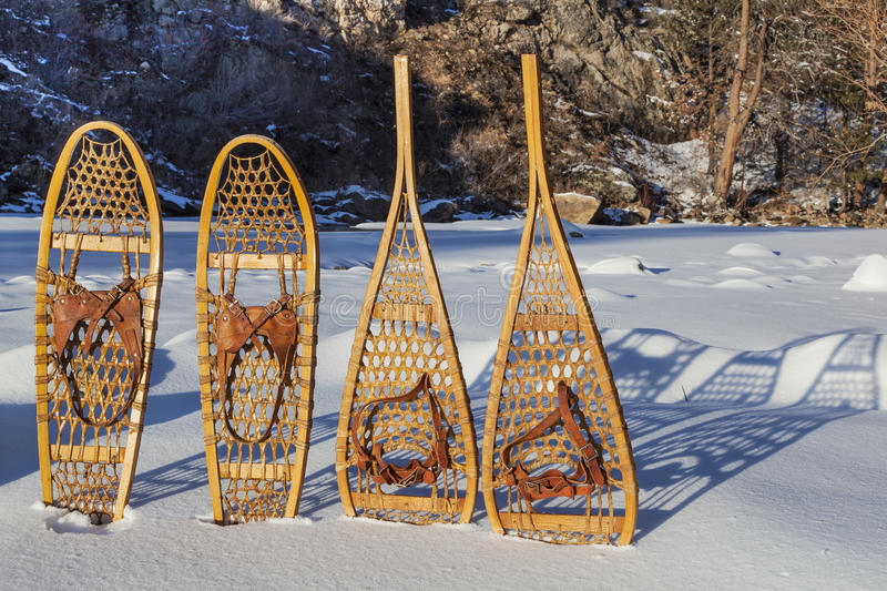 Vintage snowshoes royalty free stock photos