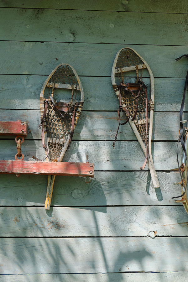 Vintage Snowshoes stock photography