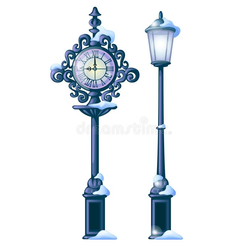 Free Vintage Snowy Street Clock With Ornate Dial And Streetlight Isolated On White Background. Sample Of Christmas And New Royalty Free Stock Photos - 126559378
