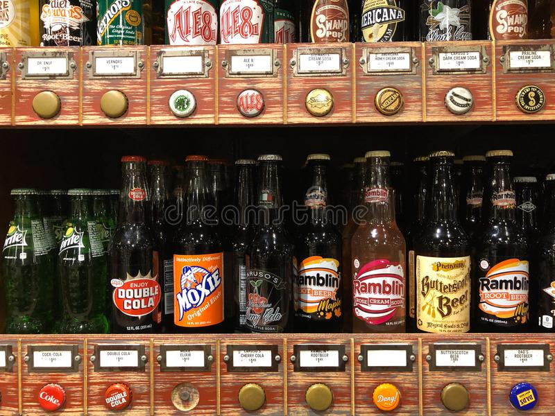 Vintage Soda Pop voor verkoop in een Cracker Barrell Gift Shop stock afbeeldingen