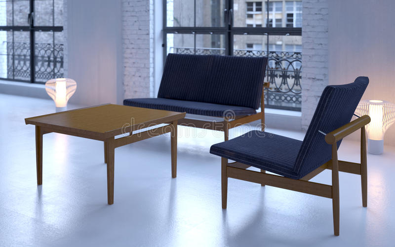Download Vintage Sofa And Chair In Loft Royalty Free Stock Image - Image: 11553346