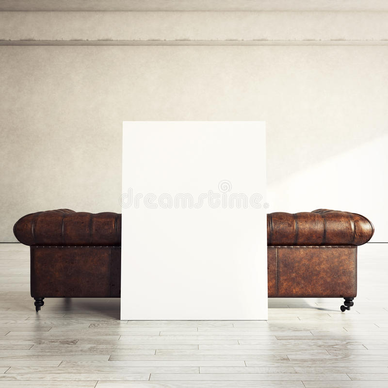 Vintage sofa and white poster. Sunny interior with vintage sofa and white poster royalty free stock photography