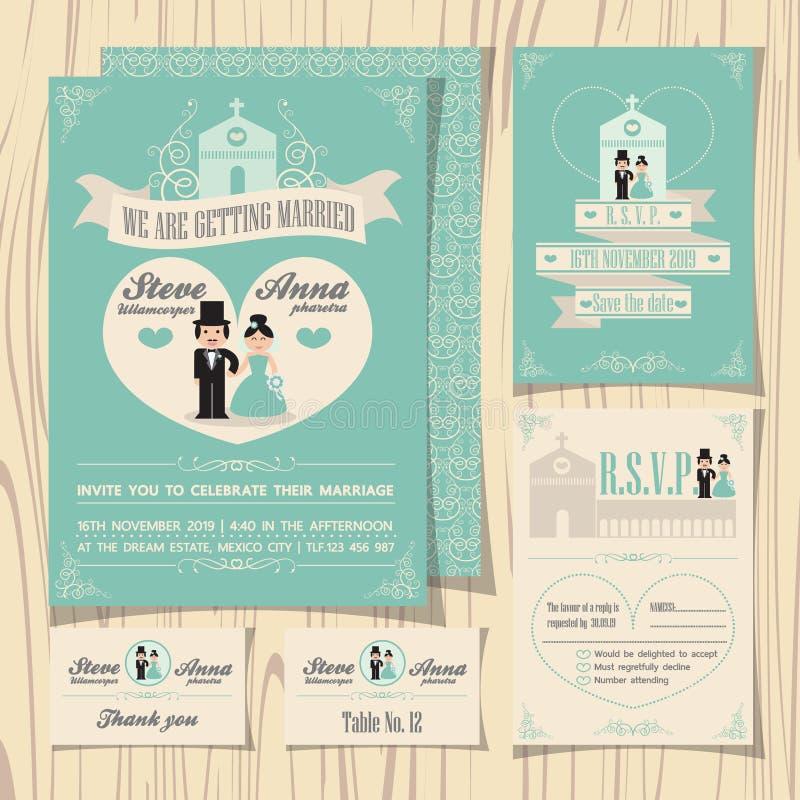 Vintage soft green theme wedding invitation royalty free illustration