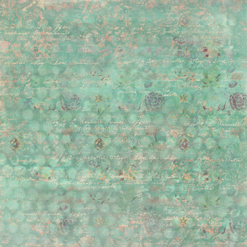 Vintage soft Grungy Floral Wallpaper Pattern with spots. Vintage pastel Grungy Floral textured Wallpaper Pattern with spots and script royalty free stock images