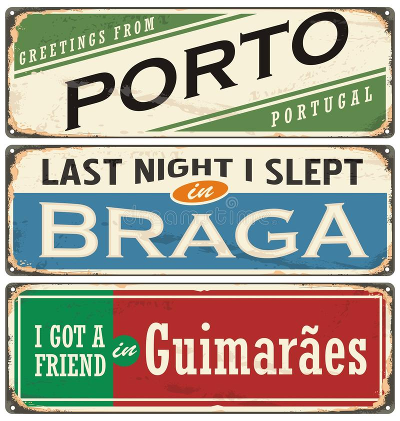 Vintage souvenir sign or postcard templates with Portugal cities stock illustration