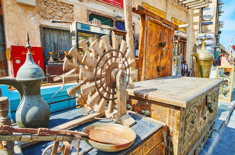 Vintage souvenirs from Souq Waqif, Doha, Qatar stock photography