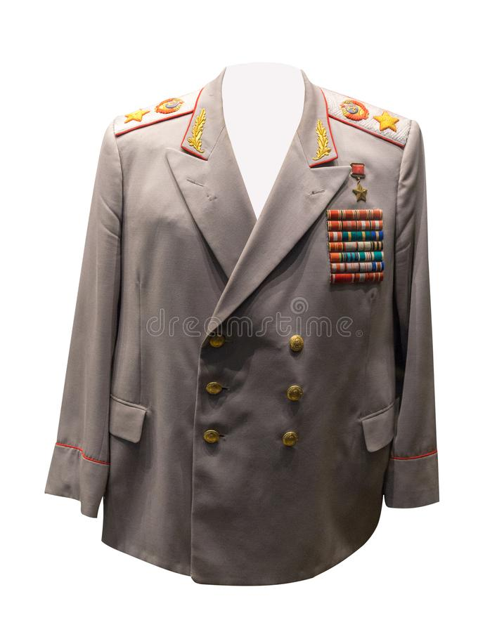Vintage Soviet military clothing.jacket of the Soviet marshal stock images