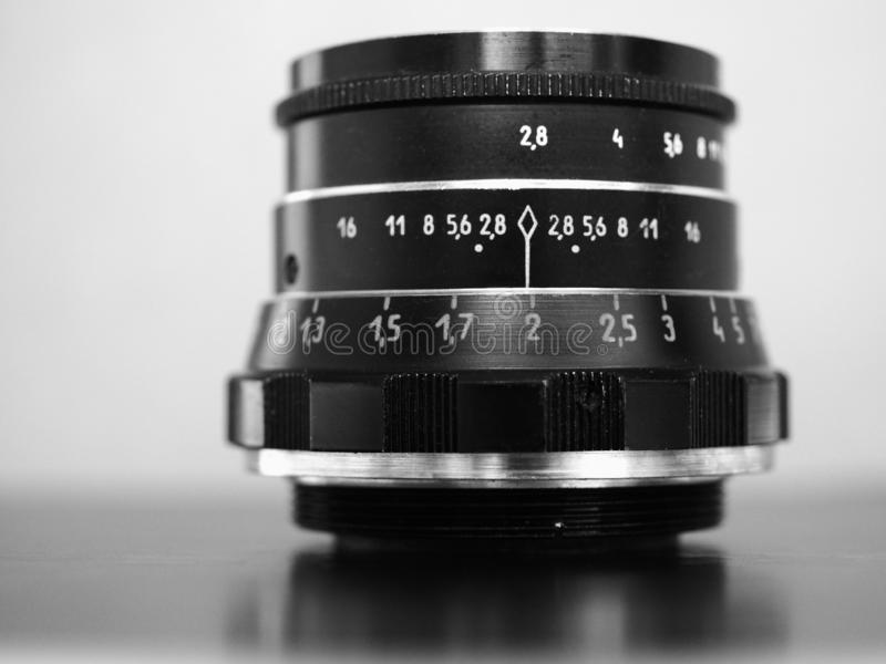 Vintage Sovietic lens. MOSCOW, RUSSIA - CIRCA SEPTEMBER 2018: Vintage Sovietic lens. The text in Russian means Industar 61 L-D royalty free stock images