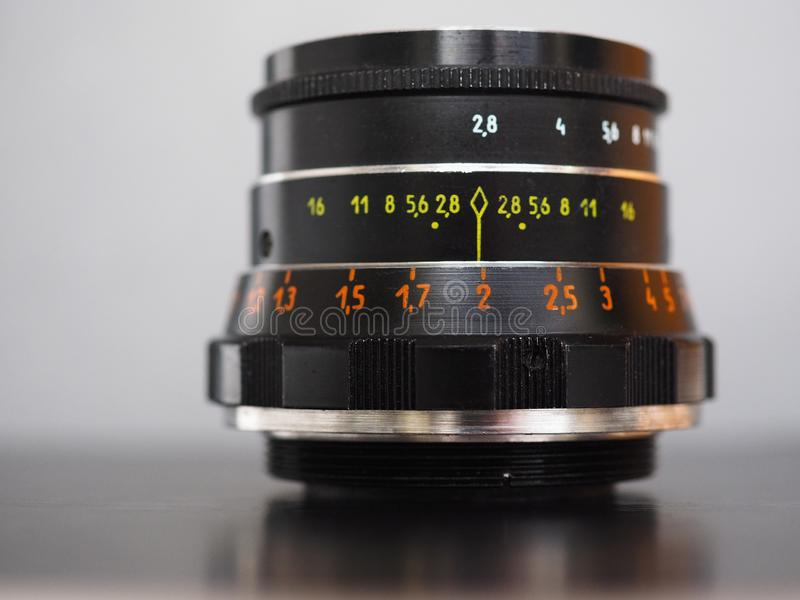 Vintage Sovietic lens. MOSCOW, RUSSIA - CIRCA SEPTEMBER 2018: Vintage Sovietic lens. The text in Russian means Industar 61 L-D royalty free stock photo