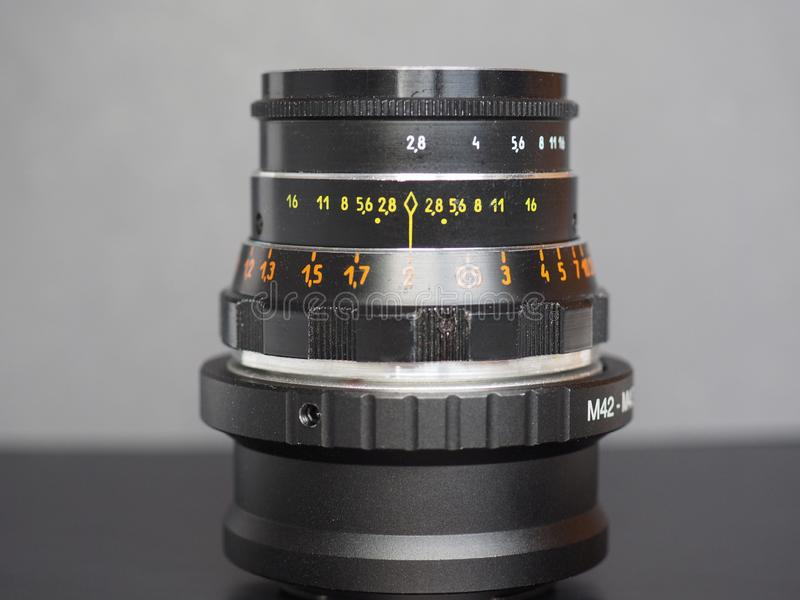 Vintage Sovietic lens. MOSCOW, RUSSIA - CIRCA SEPTEMBER 2018: Vintage Sovietic lens. The text in Russian means Industar 61 L-D royalty free stock photography