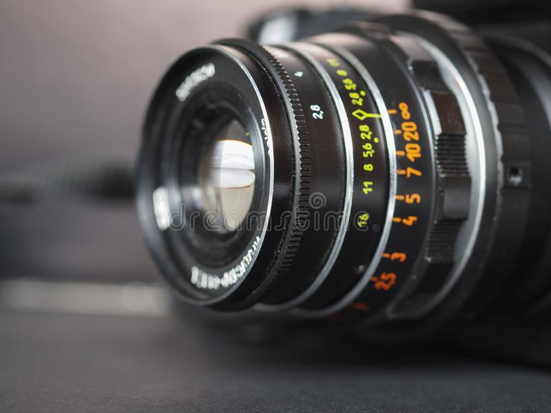Vintage Sovietic lens. MOSCOW, RUSSIA - CIRCA SEPTEMBER 2018: Vintage Sovietic lens. The text in Russian means Industar 61 L-D royalty free stock photos
