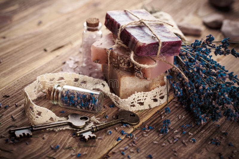 Vintage spa with lavender stock photos