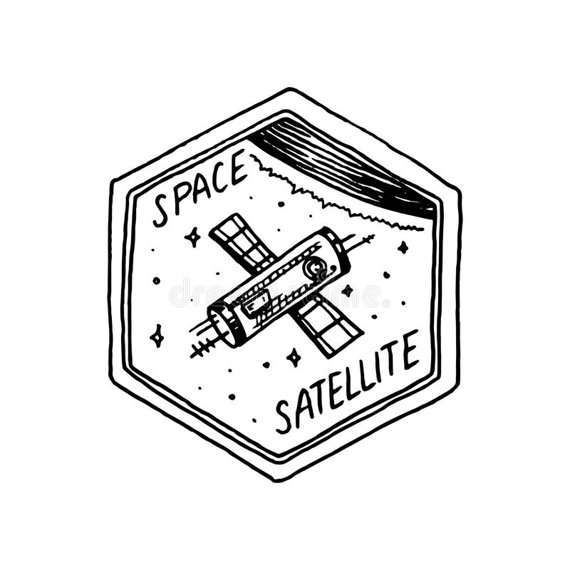Vintage Space logo with the astronaut shuttle. Exploration of the astronomical galaxy. mission spaceman. cosmonaut stock illustration