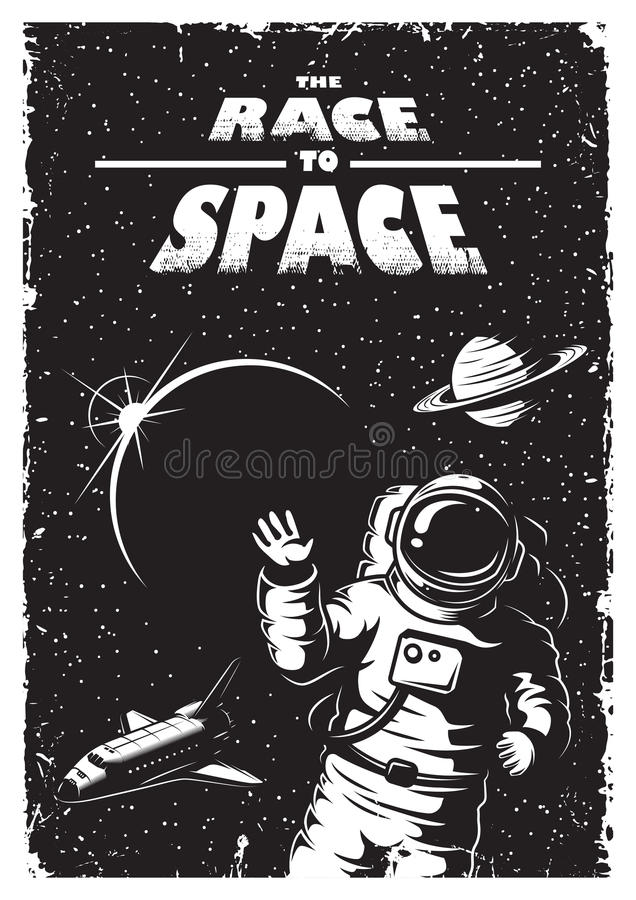 Vintage space poster stock illustration