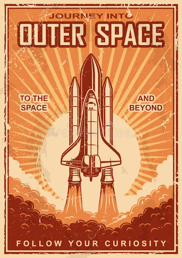 Vintage space poster with shuttle vector illustration