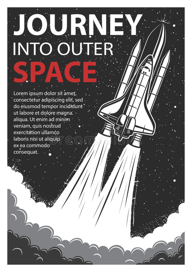 Vintage space poster with shuttle royalty free illustration
