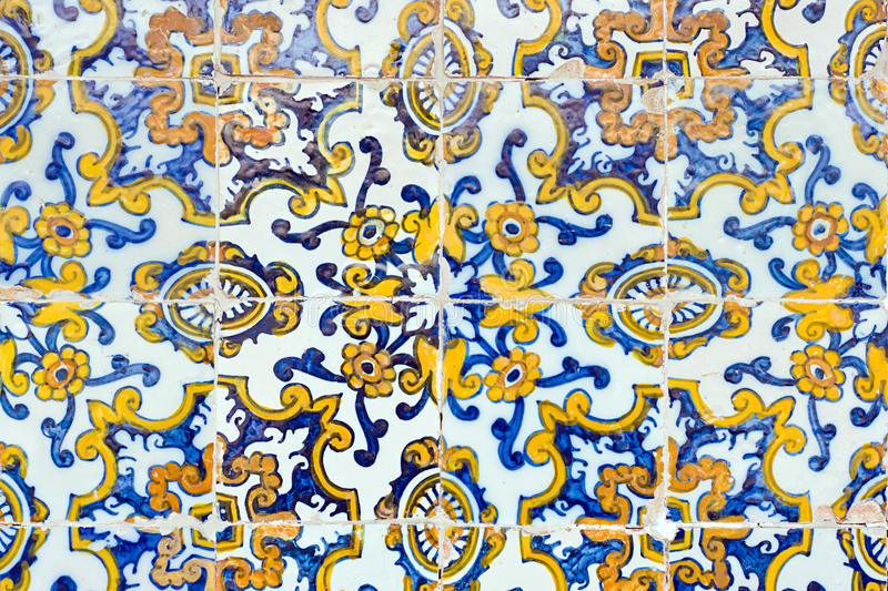 Vintage spanish style ceramic tiles royalty free stock images