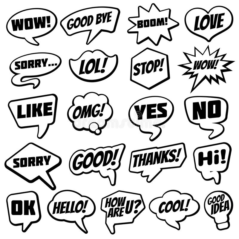 Vintage speech bubble with internet chat dialog words comic vector collection. Speech bubble vintage, cloud cartoon for speak illustration vector illustration
