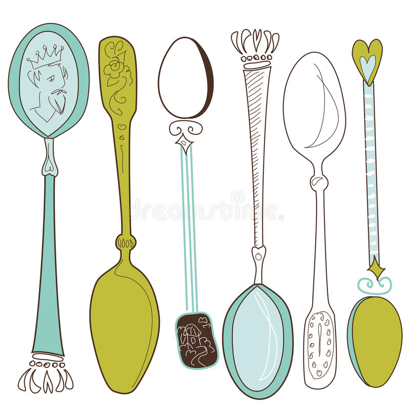 Download Vintage spoons stock vector. Image of collection, retro - 21140206