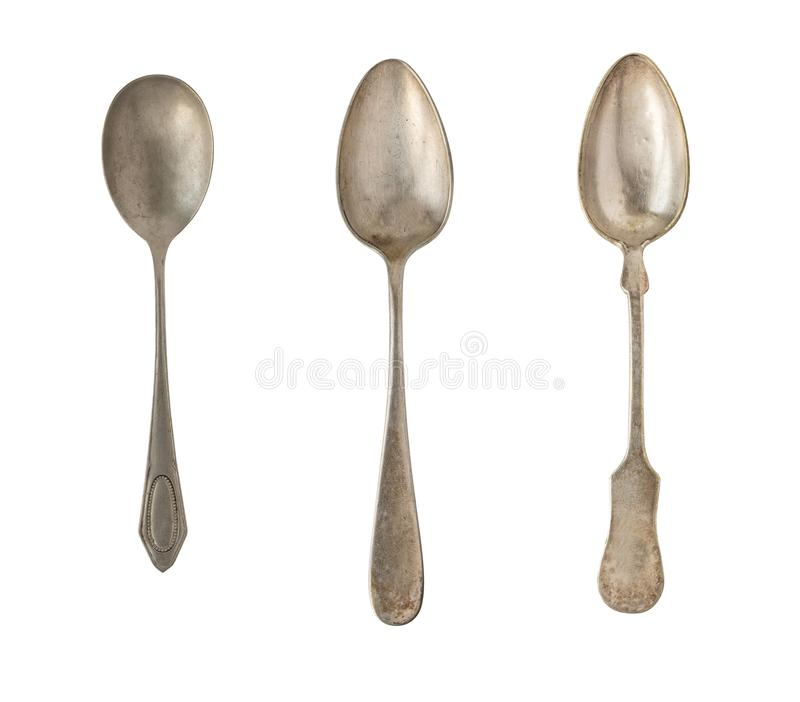 Vintage spoons isolated on a white background. Retro silverware.  stock photography