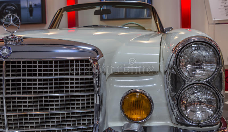 Vintage Sport Mercedes Benz. Detail front view from a vintage sport white Mercedes Benz automobile exhibited in the private enterprise KEY Museum, located in stock image